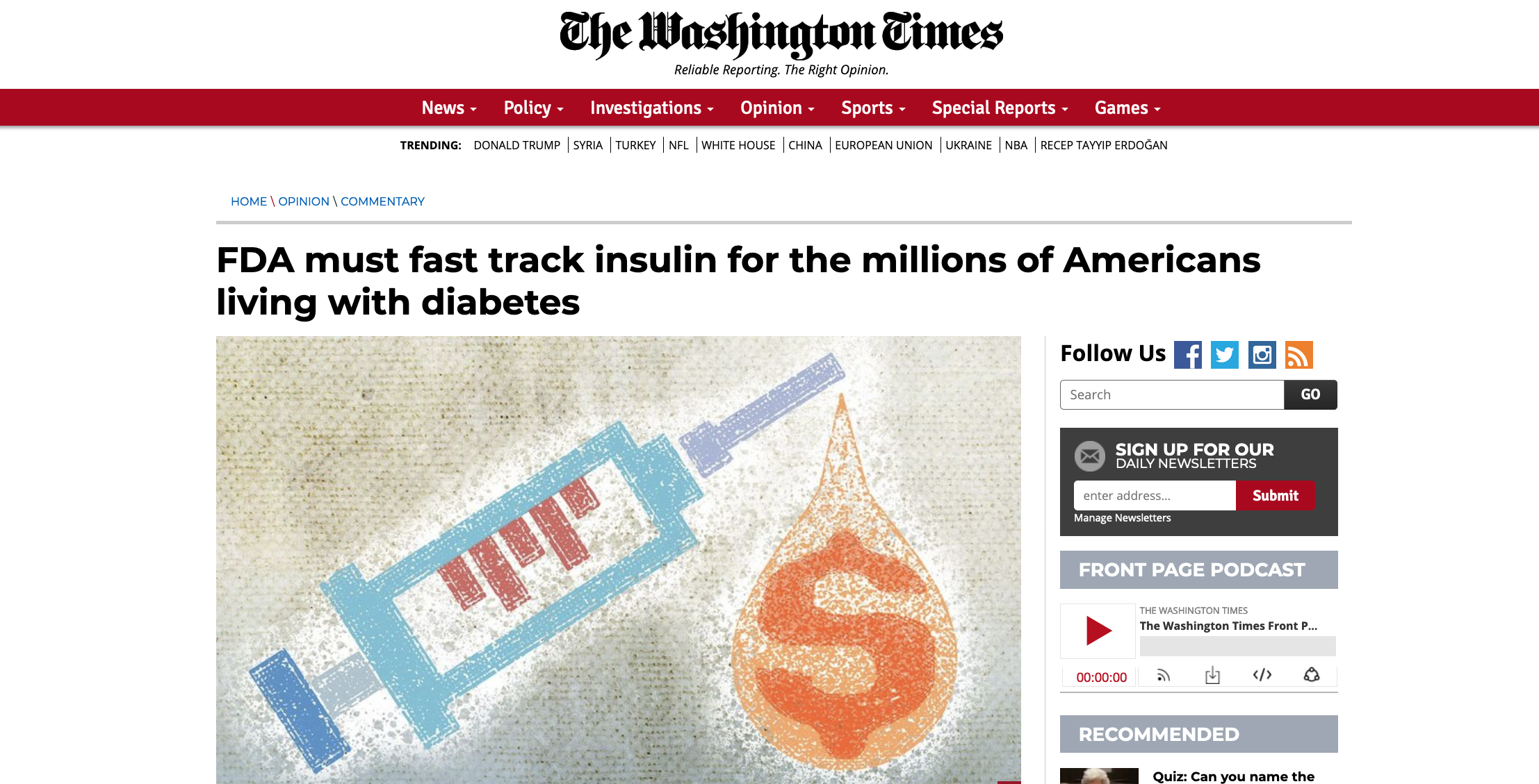 The Washington Times: FDA must fast track insulin for the millions of Americans living with diabetes